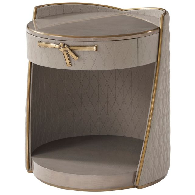 Theodore Alexander Iconic Round Bedside Table in Leather