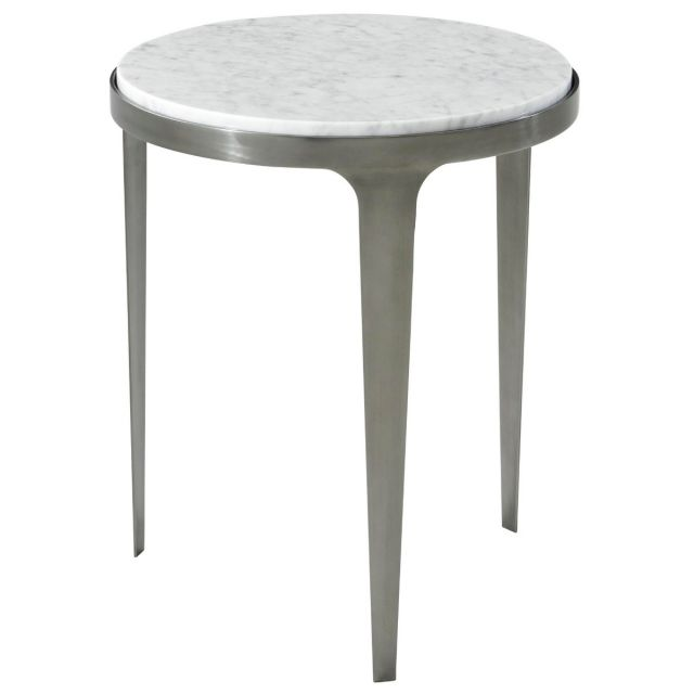 Theodore Alexander Cordell Round Side Table with Marble Top