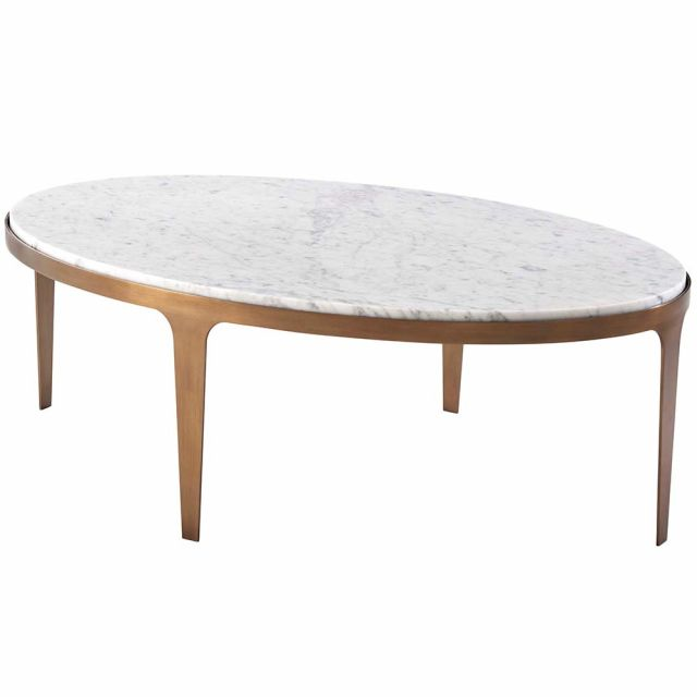 Theodore Alexander Gennaro Oval Marble Coffee Table