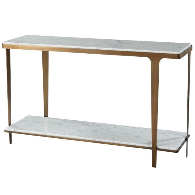 Theodore Alexander Cordell Console Table in White & Brass