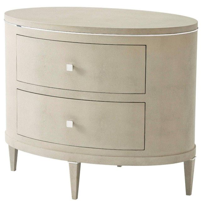 Theodore Alexander Bedside Chest Eli in Polished Nickel