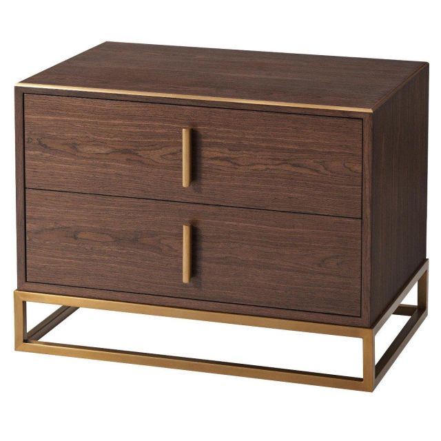 TA Studio Bedside Table Blain in Macadamia & Brass