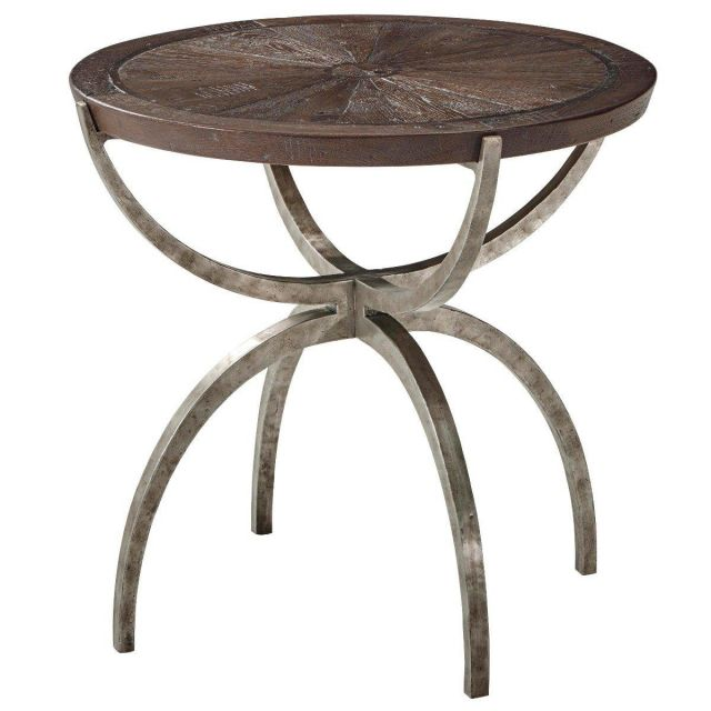 Theodore Alexander Round Side Table Weston in Dark Echo Oak