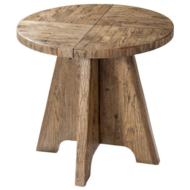 Theodore Alexander Round Side Table Mill Hill in Echo Oak