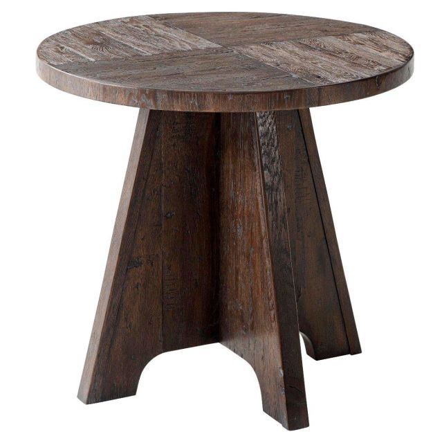 Theodore Alexander Round Side Table Mill Hill in Dark Echo Oak