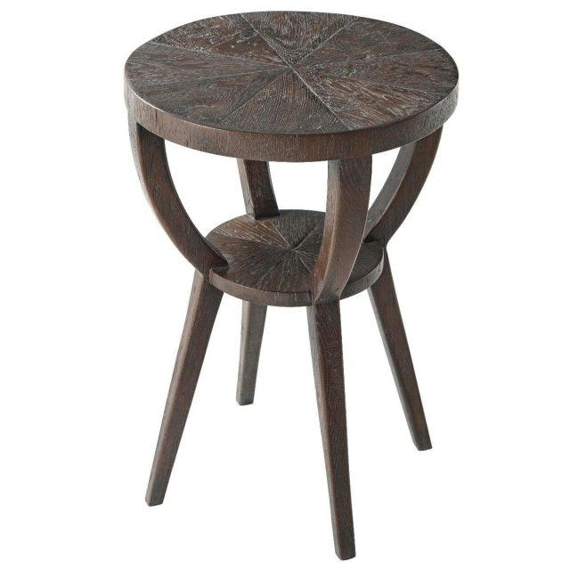 Theodore Alexander Round Accent Table Southfield in Dark Echo Oak