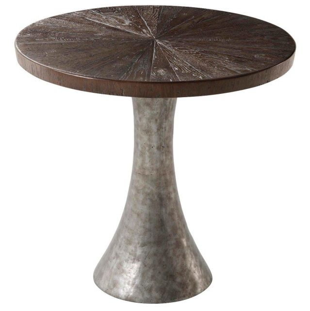 Theodore Alexander Round Side Table Arden in Dark Echo Oak