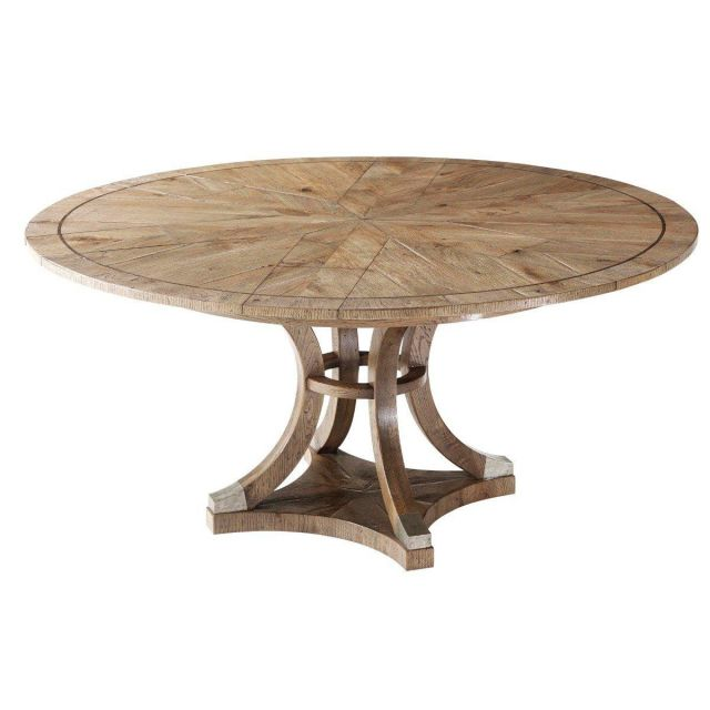 Theodore Alexander Extendable Round Dining Table Devereaux in Echo Oak