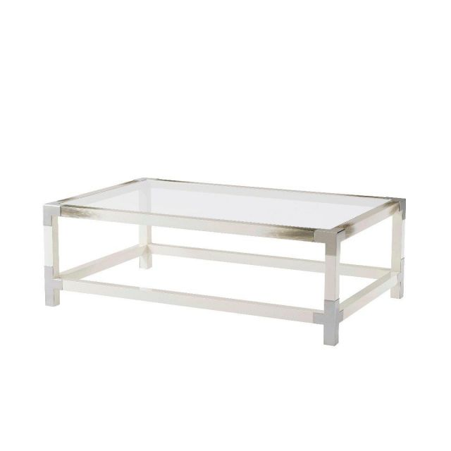 Theodore Alexander Cutting Edge Coffee Table in White