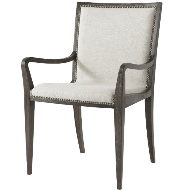 Theodore Alexander Dining Chair with Arm Martin in Matrix Marble