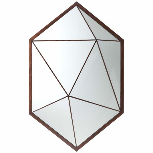 Theodore Alexander Hexagon Wall Mirror Vlad in Mahogany