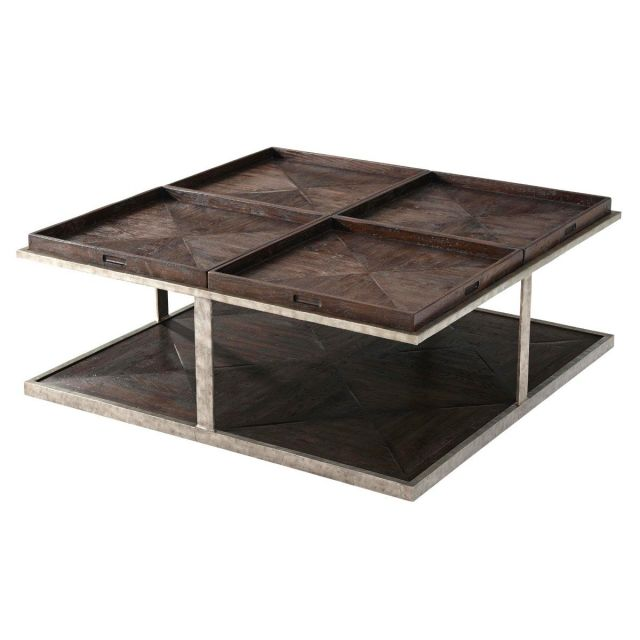 Theodore Alexander Large Coffee Table Quattor in Dark Echo Oak
