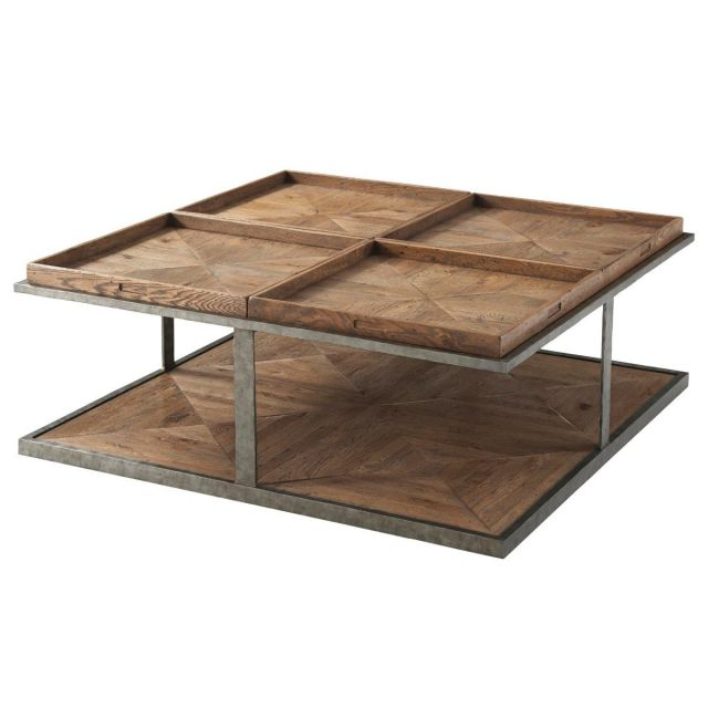 Theodore Alexander Large Coffee Table Quattor in Echo Oak
