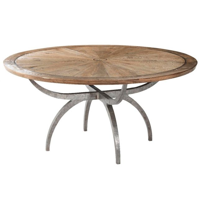 Theodore Alexander Large Round Dining Table Lagan in Echo Oak