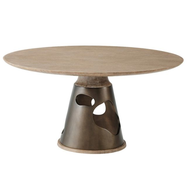Theodore Alexander Round Dining Table Flint - Sandalwood Oak