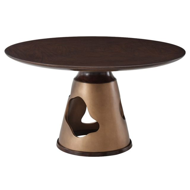 Theodore Alexander Round Dining Table Flint - American Walnut Veneer