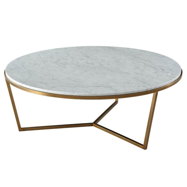 TA Studio Large Round Coffee Table Fisher in Marble & Brass