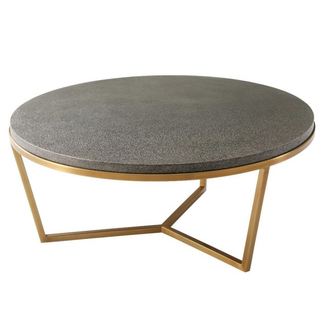 TA Studio Small Round Coffee Table Fisher in Tempest Shagreen