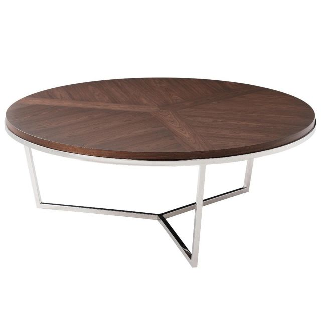 TA Studio Large Round Coffee Table Fisher in Macadamia & Nickel