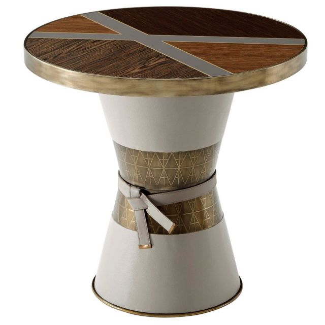 Theodore Alexander Round Occasional Table Iconic in Veneer