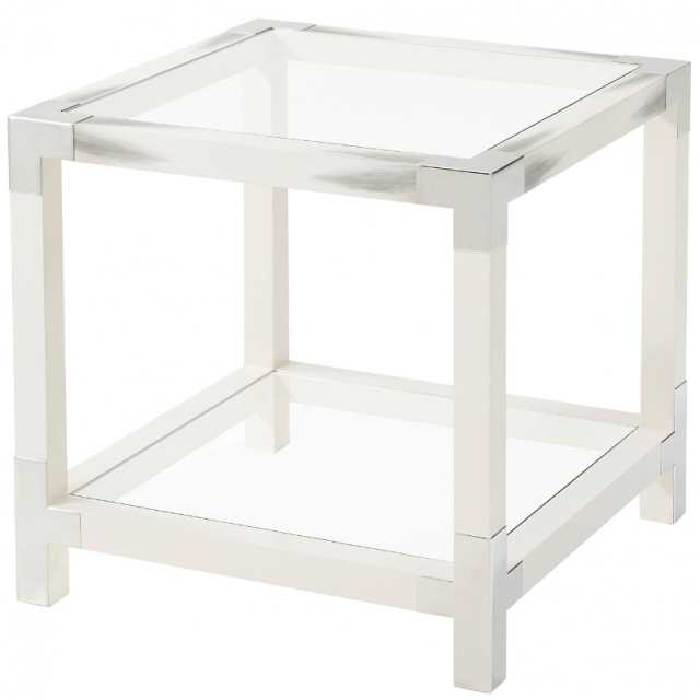 Theodore Alexander Cutting Edge Side Table in White