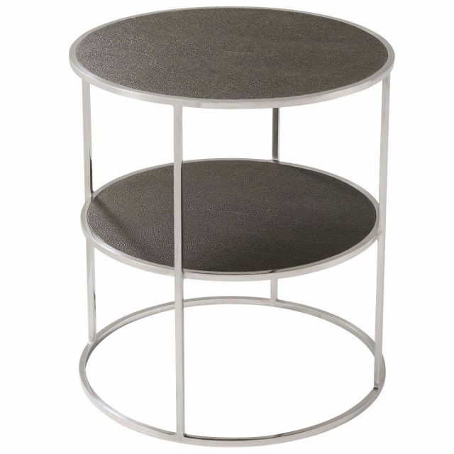 Theodore Alexander Side Table Tripp - Nickel Finish Metal Framed