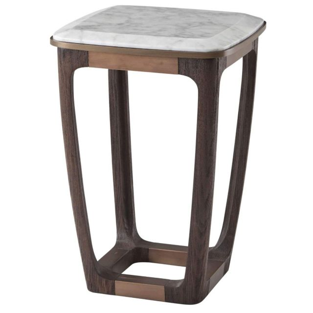 Theodore Alexander Converge Marble Accent Table in Cigar Club