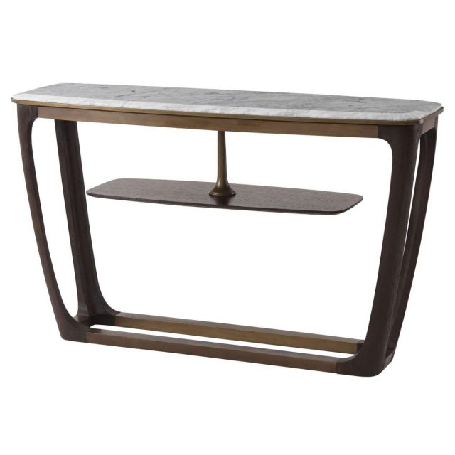 Theodore Alexander Converge Marble Console Table in Cigar Club