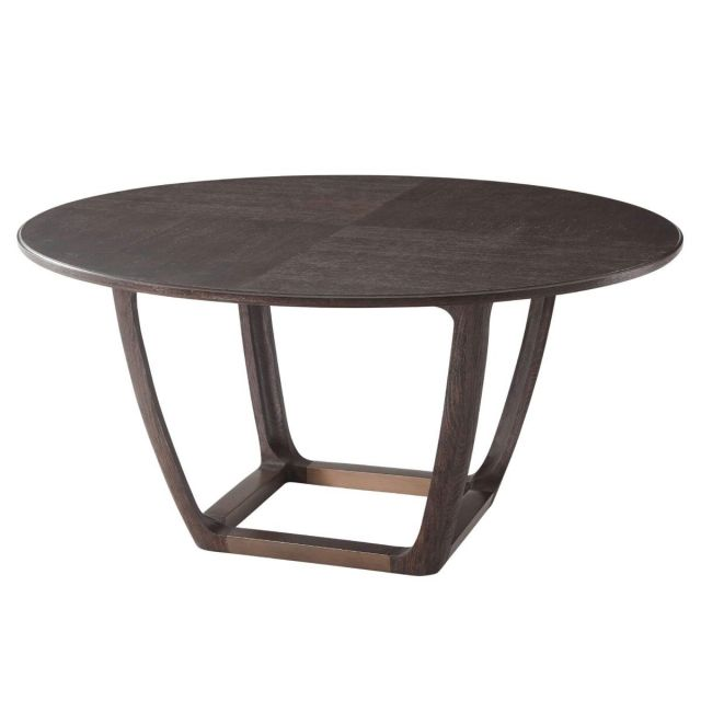 Theodore Alexander Converge Large Oak Dining Table in Cigar Club