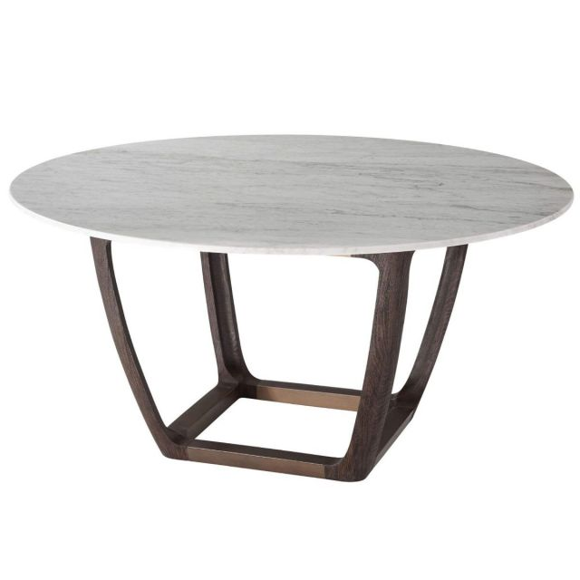 Theodore Alexander Converge Large Marble Dining Table in Cigar Club