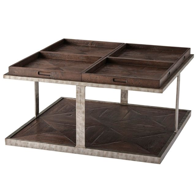 Theodore Alexander Small Coffee Table Quattor in Dark Echo Oak