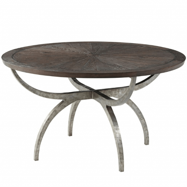 Theodore Alexander Small Round Dining Table Lagan in Dark Echo Oak