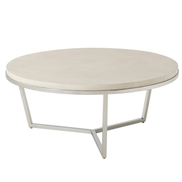 TA Studio Small Round Coffee Table Fisher in Overcast Shagreen