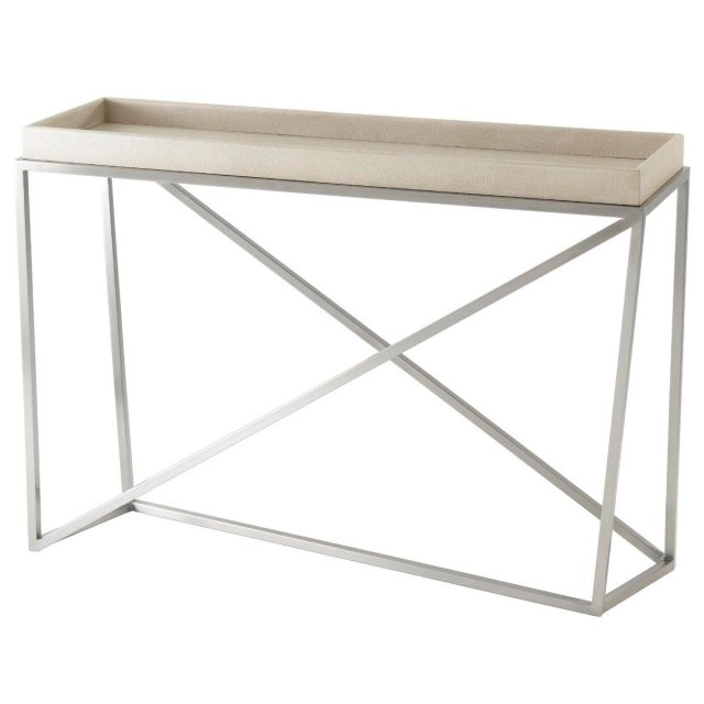 TA Studio Tray Console Table Crazy X in Overcast