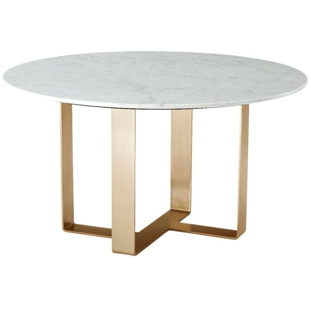 TA Studio Round Marble Dining Table Adley in Pyrite