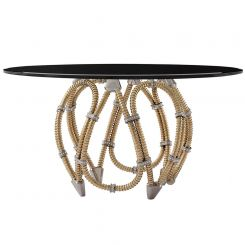 Theodore Alexander Grace Round Dining Table with Brass Base