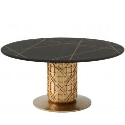 Theodore Alexander Round Dining Table Colter II - Bronze Oak