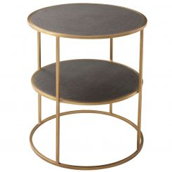 Theodore Alexander Side Table Tripp in Tempest - Brushed Brass Finish Metal Framed