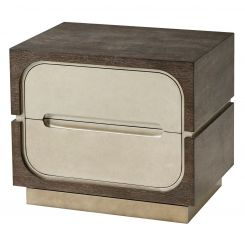 Theodore Alexander Bedside Table Oomph - Crackled Silver